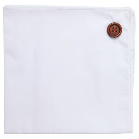 Pocket Square 100% Cotton, White w White Trim, Button Collection by Puentes