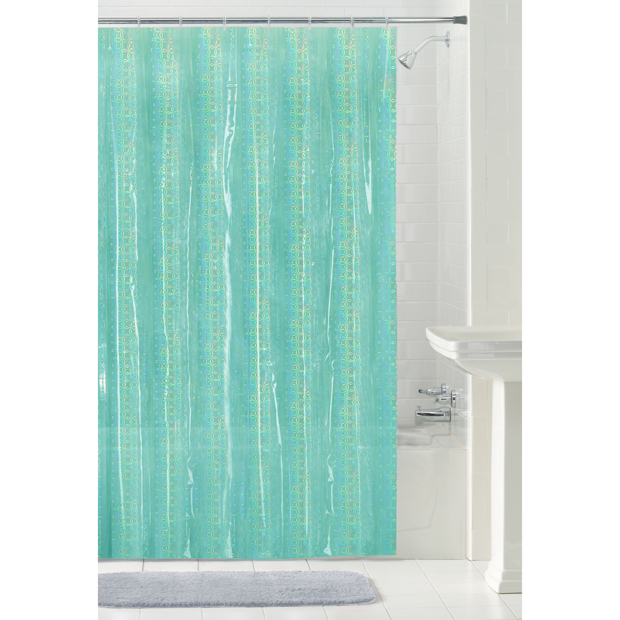 Mainstays Luminous PEVA Shower Curtain or Liner, 70 inch x 84 inch, Aqua