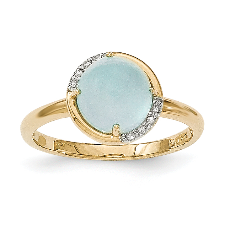 14k Blue Chalcedony and Diamond Ring by Saris and Things QG