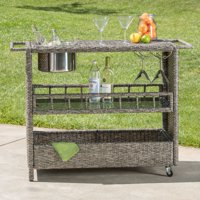 Cascada Outdoor Wicker Bar Cart, Mixed Black
