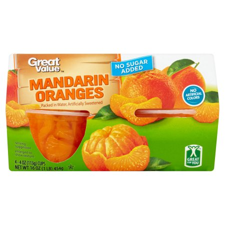 (6 Pack) Great Value Mandarin Oranges, No Sugar Added, 4 Oz, 4 Count Box