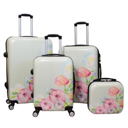 World Traveler Flower Bloom 4-piece Lightweight Hardside Spinner Luggage Set