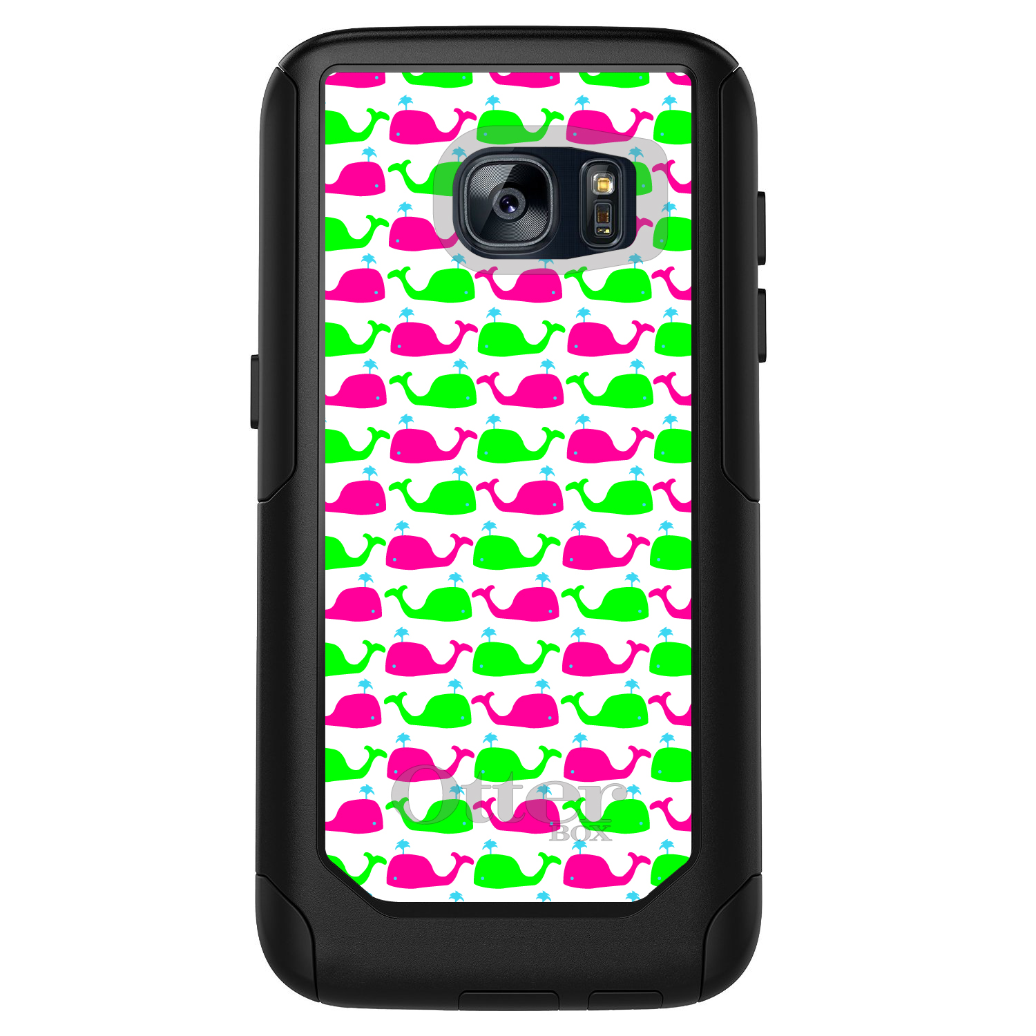 DistinctInk™ Custom Black OtterBox Commuter Series Case for Samsung Galaxy S7 - Green Pink Cartoon Whales