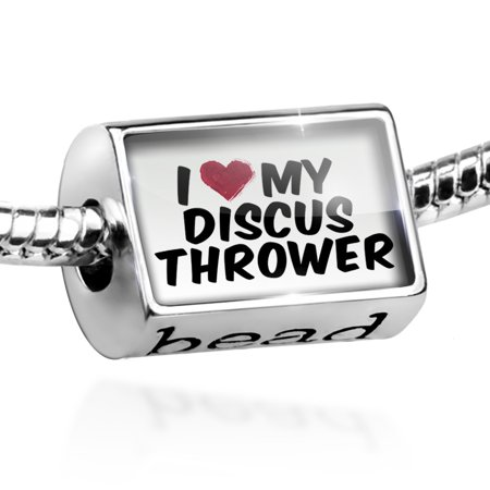 Bead I heart love my Discus Thrower Charm Fits All European Bracelets