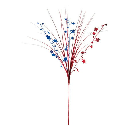 Star Foil Spray Decoration, Red & Blue,