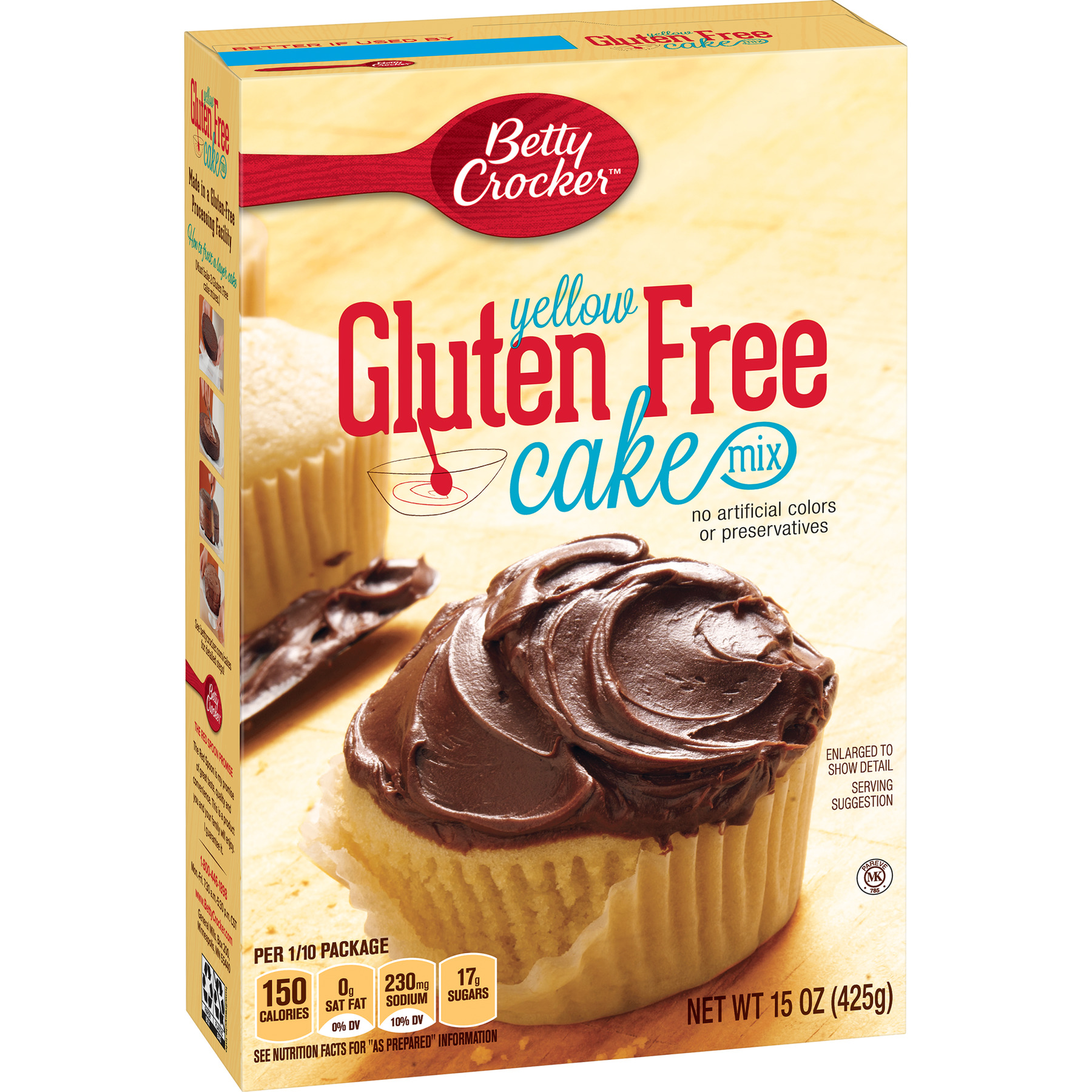 Betty Crocker Baking Mix, Gluten Free Cake Mix, Yellow, 15 Oz Box