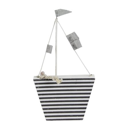"""8.75"""" Cape Cod Inspired White and Gray Striped Boat Table Top Decoration - Boat Decorations"""