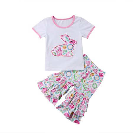 Cute Toddler Kids Baby Girls Easter Outfits Clothes Short Sleeve T-shirt Tops +Ruffle Floral Pants 2PCS Sets](Easter Crafts For Toddlers)
