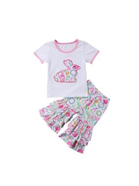 2c8bd2086 Product Image Cute Toddler Kids Baby Girls Easter Outfits Clothes Short  Sleeve T-shirt Tops +Ruffle