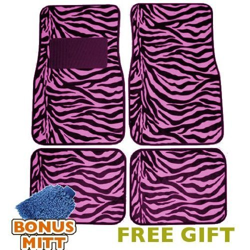 A Set of 4 Universal Fit Animal Print Carpet Floor Mats for Cars/Truck - Pink Zebra Stripes & Bonus Detailing WASH MITT