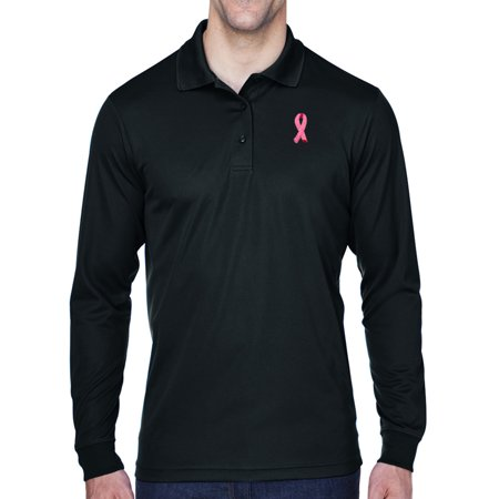 Mens Breast Cancer Awareness Pink Ribbon Patch Long Sleeve Polo Shirt - Black,