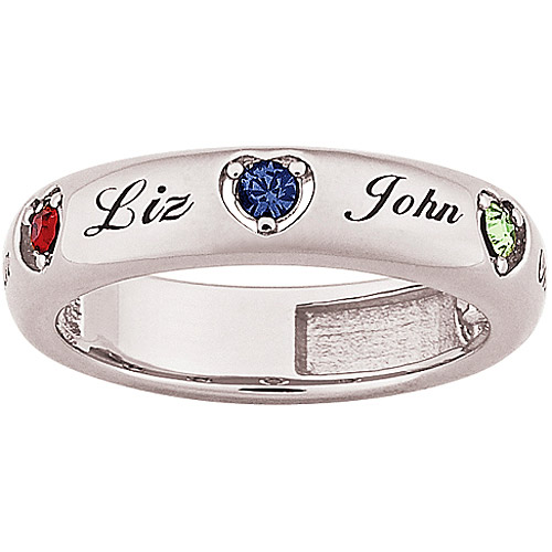 Personalized Platinum Plated Sterling Silver Mother's Name and Birthstone Heart Band
