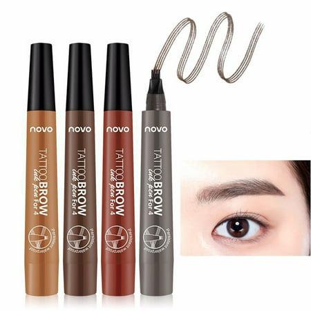 Long-lasting Liquid Eyebrow Pencil Waterproof 4 Fork Tip Eyebrow Tattoo Pen 01# light