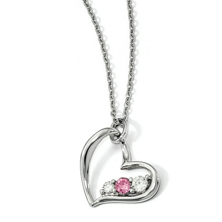 Survivor Jewelry (Sterling Silver Survivor Clear & Pink Swarovski Topaz Heart of Strength Necklace with)