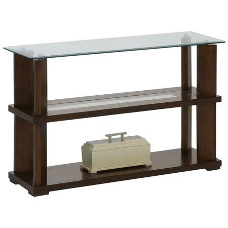 Progressive Delfino Glass Top Console Table in Burnished Cherry