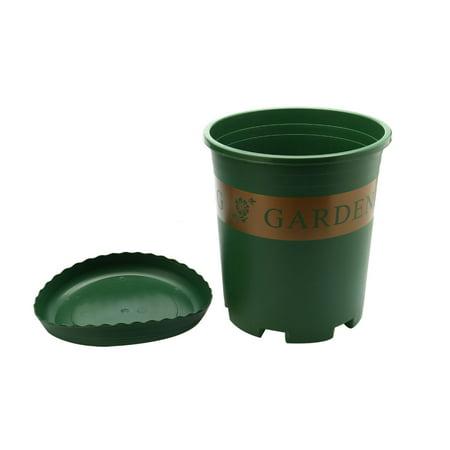 unique bargains home garden plastic round shape flower pot plant planter green 3 gallon w tray. Black Bedroom Furniture Sets. Home Design Ideas