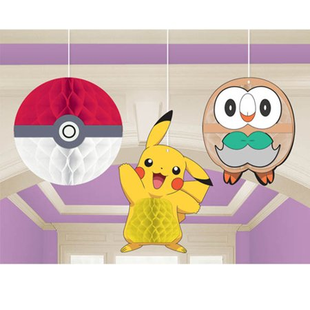 Pokemon 'Sun and Moon' Honeycomb Decorations (3ct)