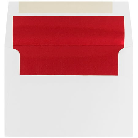 "JAM Paper A7 Foil Lined Envelopes, 5 1/4"" x 7 1/4"", White with Red Foil Lining, 50/pack"