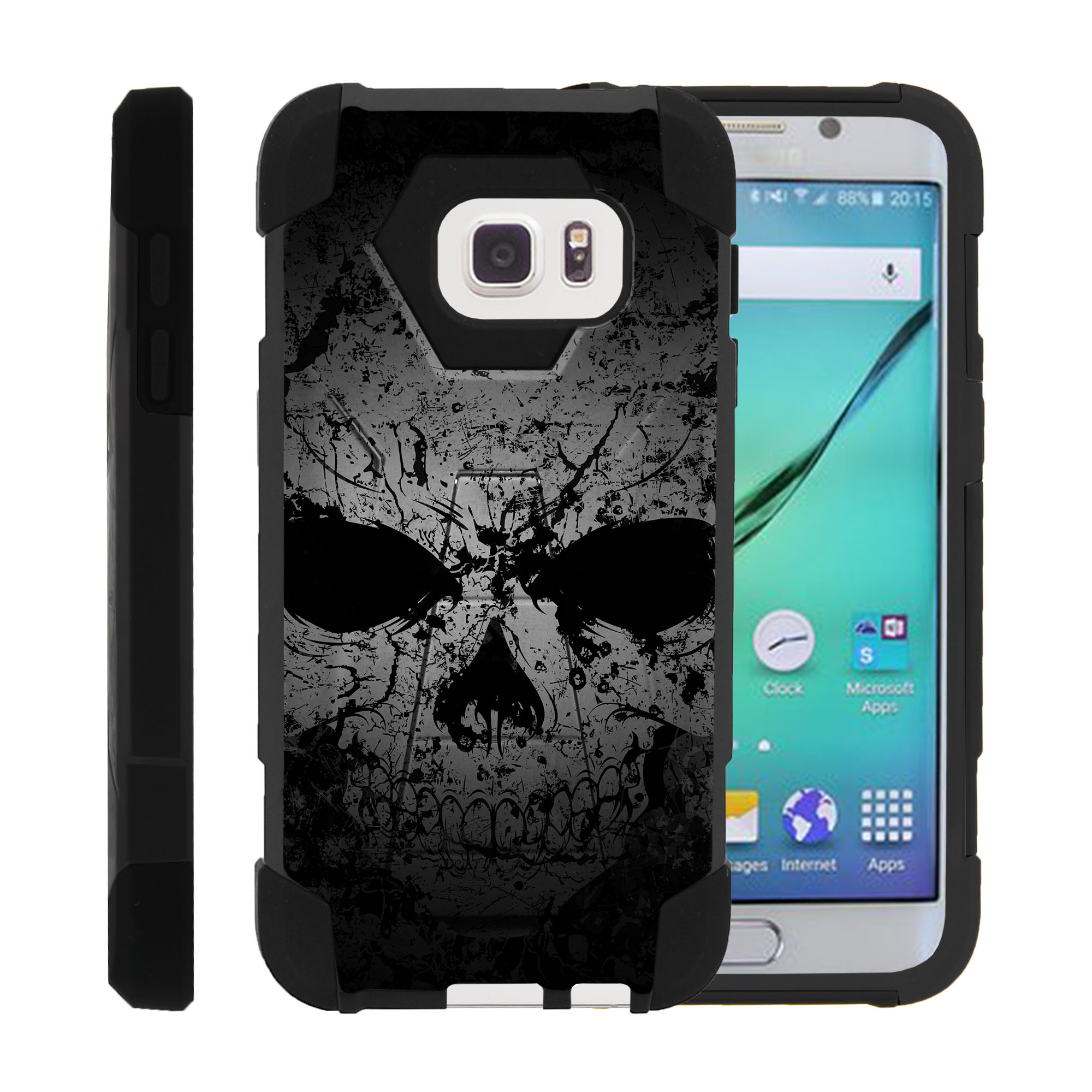 Case for Samsung S7 | S7 Hybrid Cover [ Shock Fusion ] High Impact Shock Resistant Shell Case + Kickstand - Faded Skull