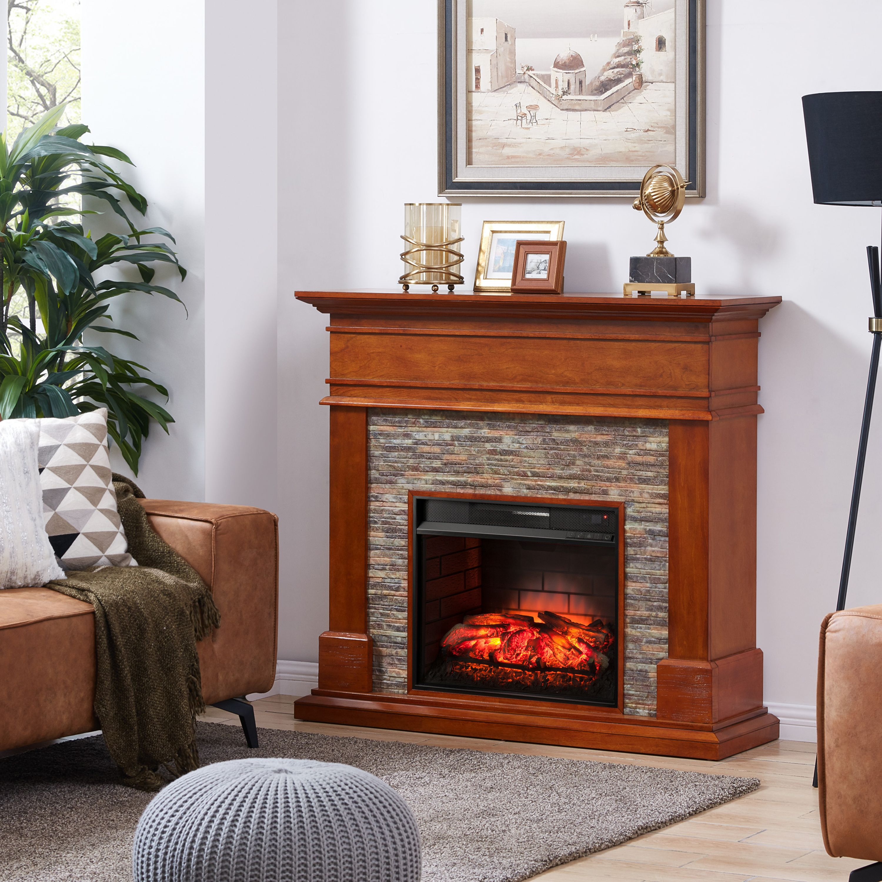 Kolman Faux Stone Infrared Fireplace, Traditional, Glazed Pine