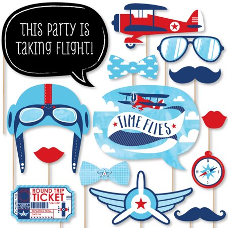 Taking Flight - Airplane - Vintage Plane Baby Shower or Birthday Party Photo Booth Props Kit - 20 Count