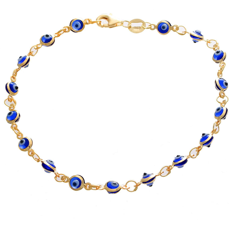 Angelique Silver 18kt Gold over Sterling Silver Navy Blue Enamel Evil Eye Bracelet
