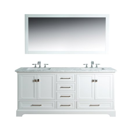 Stufurhome Newport White 72 Inch Double Sink Bathroom Vanity With