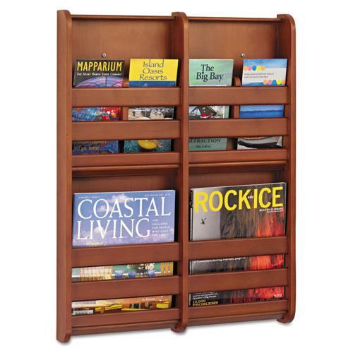 "Safco Bamboo Magazine/Pamphlet Wall Display, 19-1/2""W x 1-3/4""D x 25-1/2""H, Cherry"