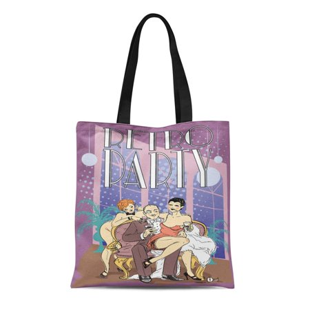 LADDKE Canvas Bag Resuable Tote Grocery Shopping Bags 20S Retro Party 1920S Rich Man with Two Flapper Girls Sitting on Sofa Nostalgia Tote Bag](Male Flappers)
