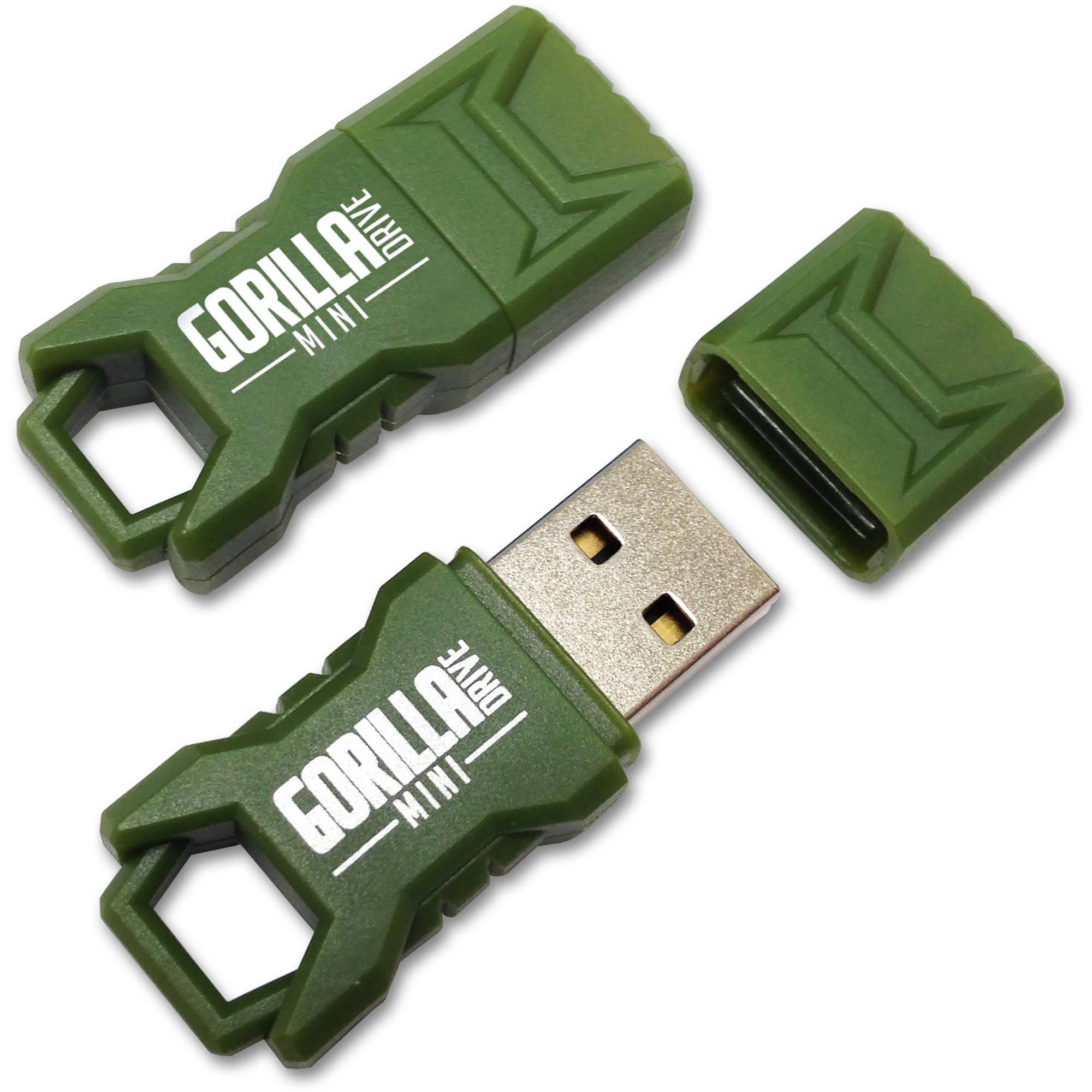 EP Green Mini GorillaDrive 16GB Rugged USB Flash Drive, 2-Pack