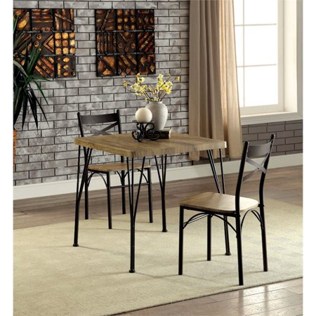 Furniture of America Kelle 3 Piece Square Dining Set in Dark Bronze ()