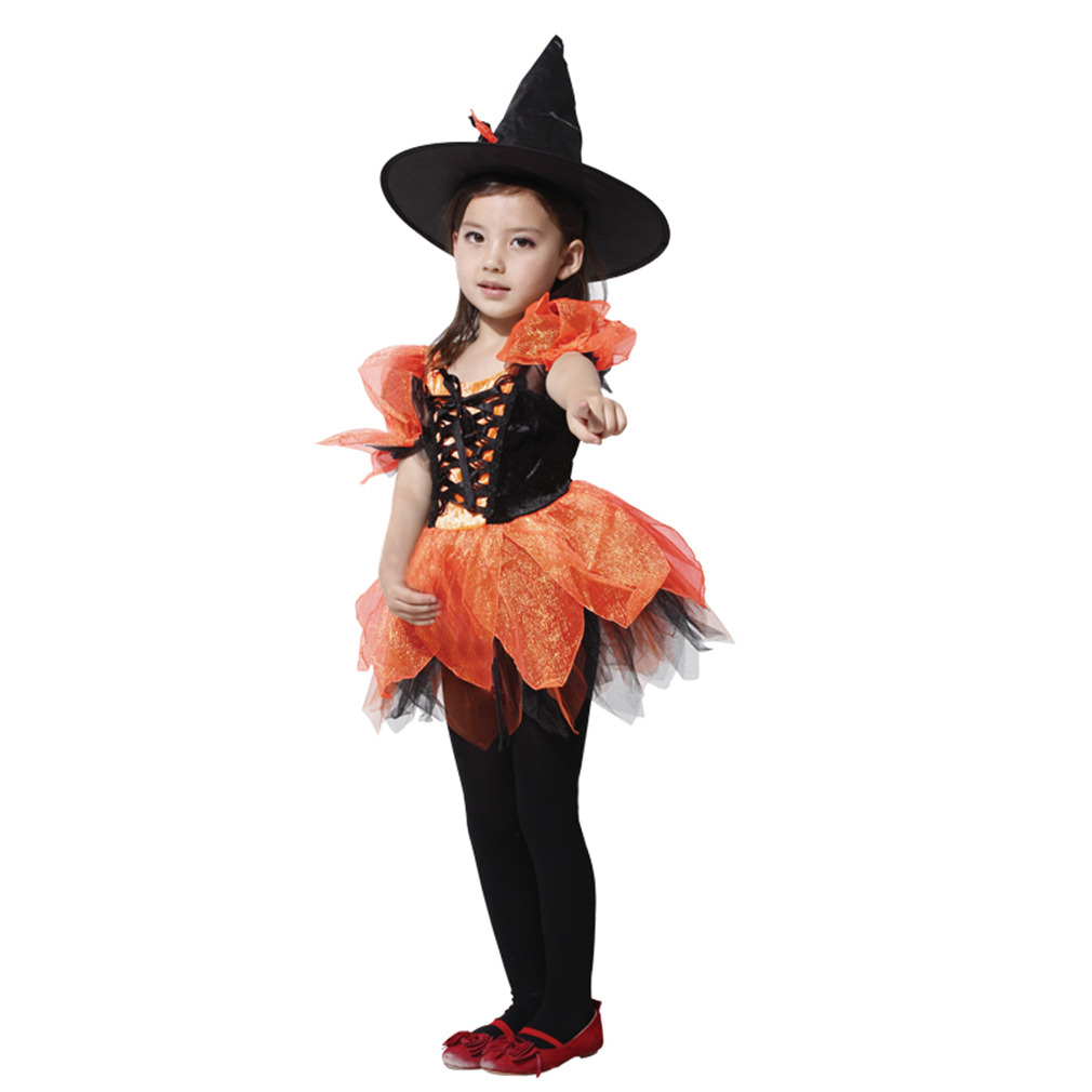 Spooktacular Girls' Sassy Orange Witch Costume Set with Dress and Hat, L by