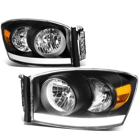 For 06 09 Dodge Ram 1500 2500 Led Drl Light Bar Headlights Black
