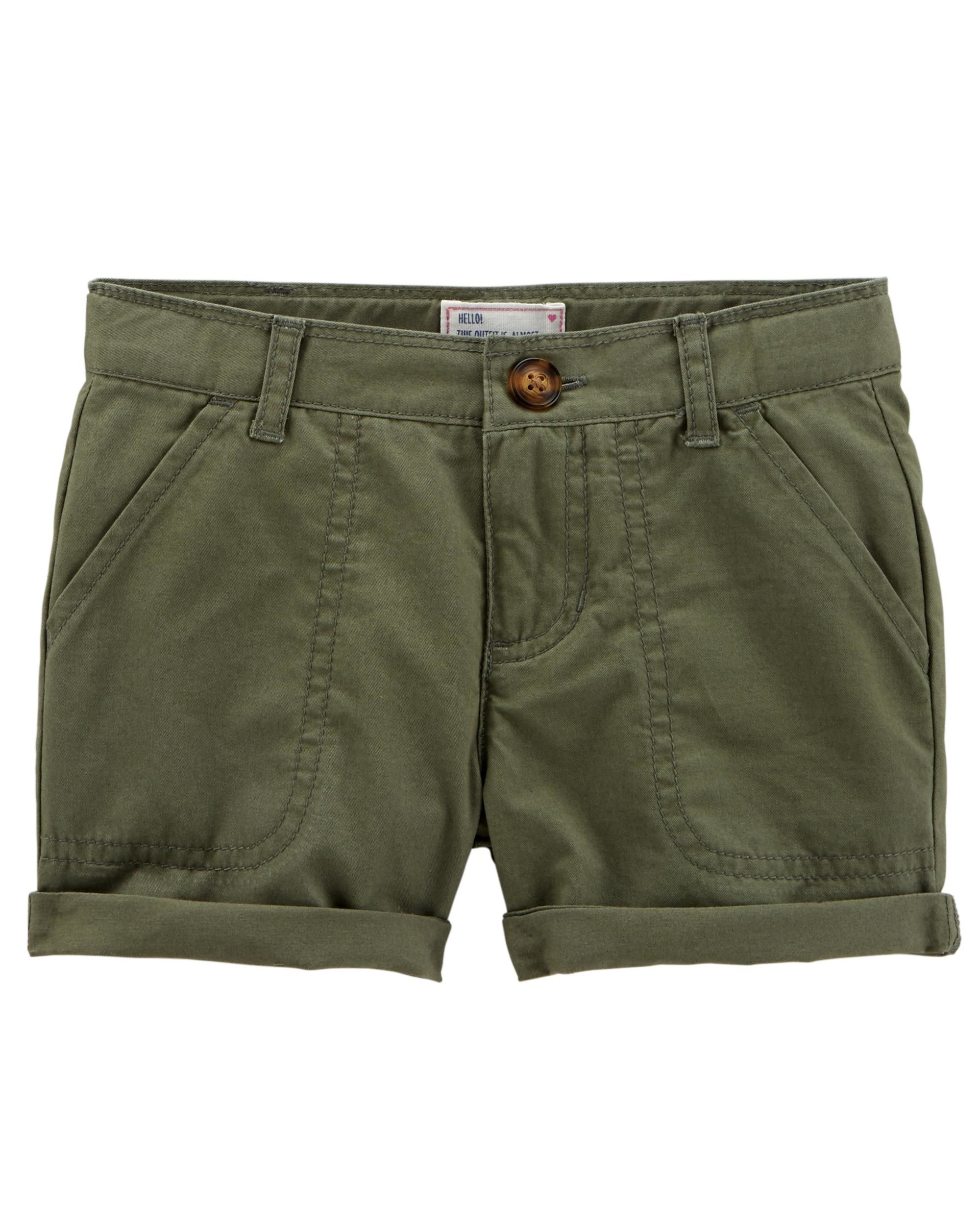 Carter's Baby Girls' Twill Roll-Cuff Shorts - Olive