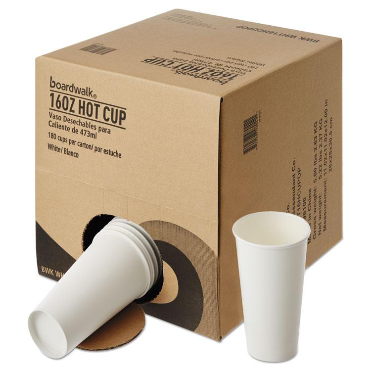 Convenience Pack Paper Hot Cups, 16 Oz, White, 180/carton
