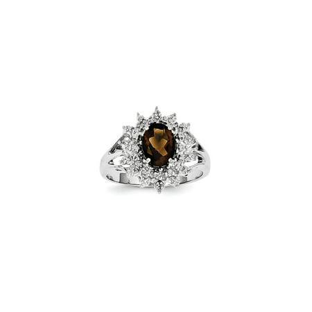 925 Sterling Silver Oval Smoky Quartz and Diamond Oval Cut Starburst Flower -