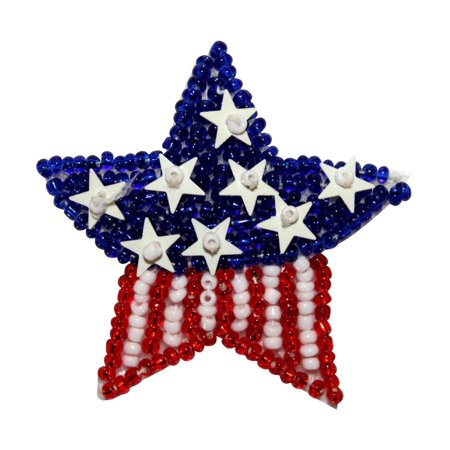 ID 8859 American Flag Star Patch Patriotic Symbol Craft Beaded Iron On Applique