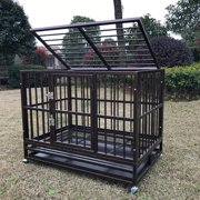 "37""/42''/48"" Brown Heavy Duty Dog Cage Crate Kennel Metal Pet Playpen Portable w/ Tray"