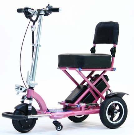 TRIAXE SPORT Foldable Electric Mobility Scooter + Cane & Cup Holder (Pink) by Top Mobility