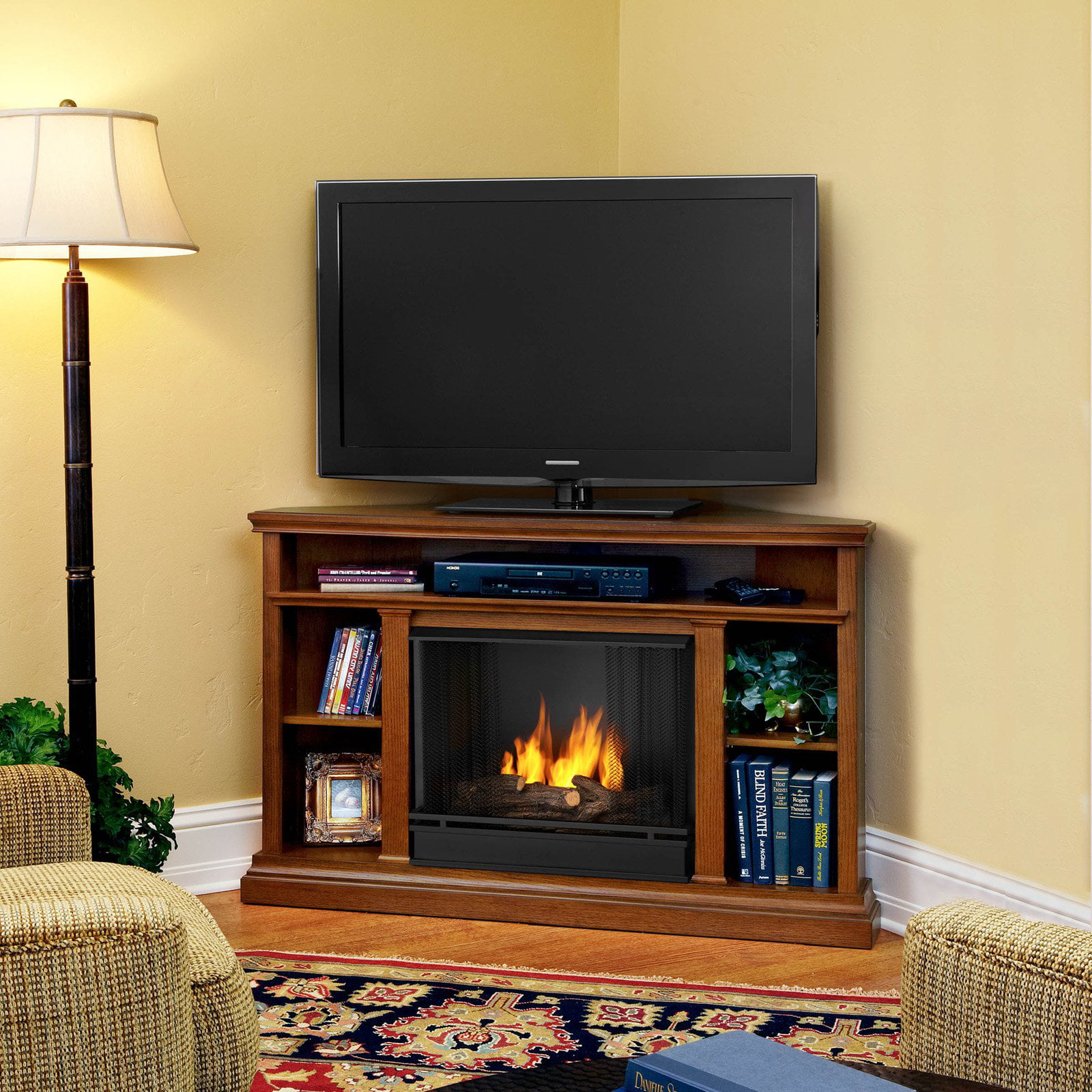 Free Shipping. Buy Real Flame Churchill Ventless Gel Fireplace - Oak at Walmart.com