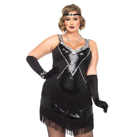 Fringe Flapper Dress (Womens Plus Size Sequin Fringe 1920s Flapper Dress Costume- Complete Set with)
