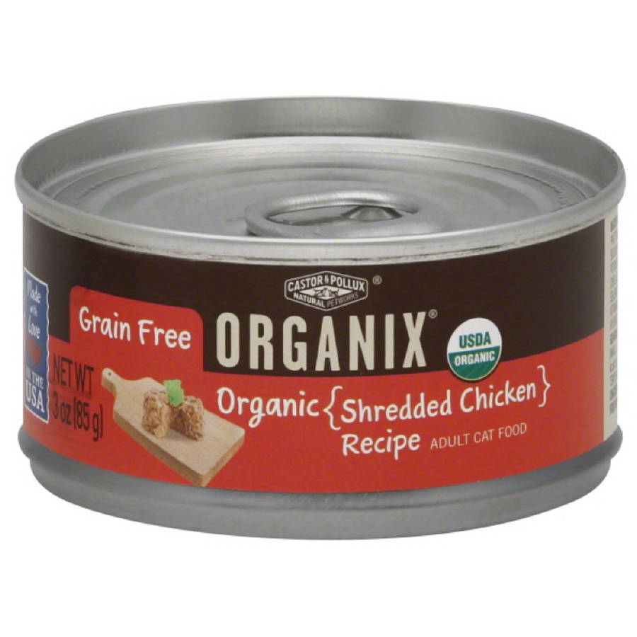 Organix Cat Food, Adult, Organic, Shredded Chicken Recipe, 3 oz, 24-Pack