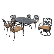 Oakland Living Corporation Buckingham Cast Aluminum 7-piece Dining Set, with Sunbrella Cushioned Chairs, and Swivel Rockers