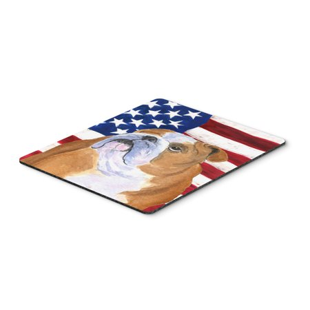 USA American Flag with Bulldog English Mouse Pad, Hot Pad or Trivet