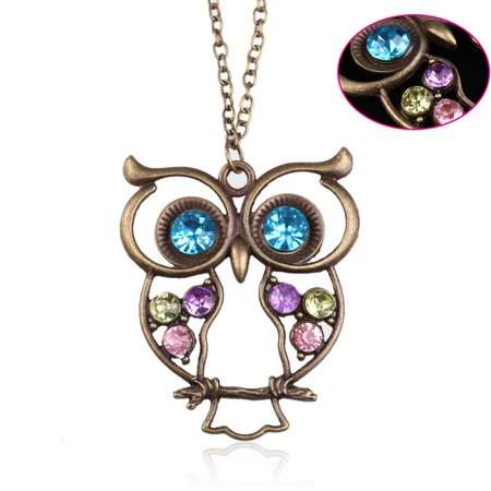 Sweater Necklace Vintage Rhinestone Owl Jewelery Long Pendant
