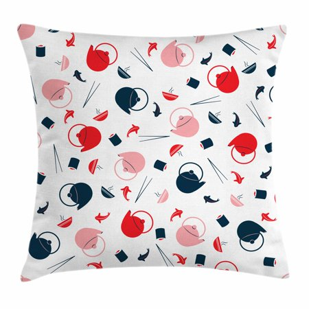 Sushi Throw Pillow Cushion Cover, Japanese Teapot Salmon and Chopsticks Flat Design Irregular Alignment, Decorative Square Accent Pillow Case, 24 X 24 Inches, Dark Blue Pink Vermilion, by