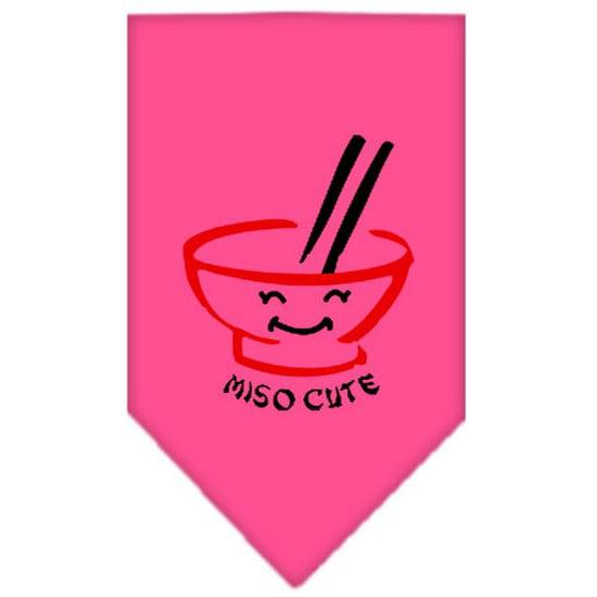 Miso Cute Screen Print Bandana Bright Pink Large