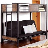 Wooden & Metal Twin Futon Base Bunk Bed, Black