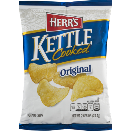 Herr's Original Kettle Cooked Potato Chips- 2.625 oz. Bag (8 Bags) (No Cook Halloween Snacks)