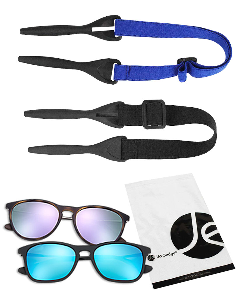 eyeglass sport strap  JAVOedge 2 Pack of Elastic Adjustable Outdoor Sunglass Eyeglass ...